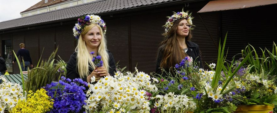 Latvia, Riga, Flower Girls