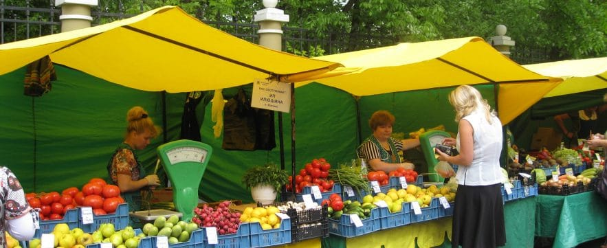 Street Market in Moscow, Russia