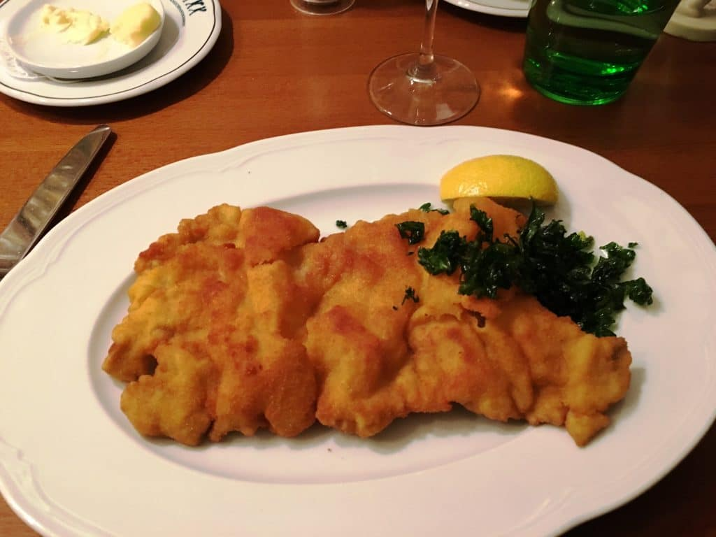 Schnitzel at The White Chimney Sweep Vienna